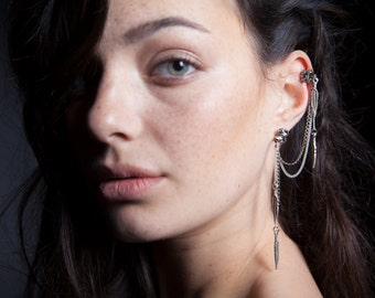 Aurora feathers ear cuff-Feather helix ear cuff-Boho bridal earring-925 sterling silver ear wrap-Gypsy cartilage earring-Stud chains earcuff