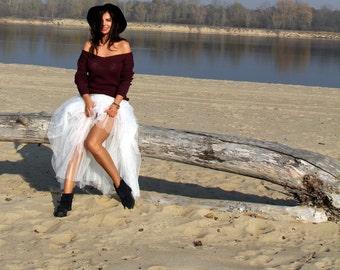 Burgundy Off Shoulder Sweater, Open waves sweater, Loose Sweater, Handknitted Sweater, Sweater