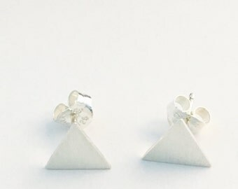 7.5mm triangle post earrings with brushed finish. Recycled sterling silver. Simple, modern, triangle stud earrings.