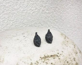 Botanical Stud earrings-Nature earrings-Cardamon stud earrings-Post earrings-Nature studs-Small earrings-Gift under 45-Silver earrings