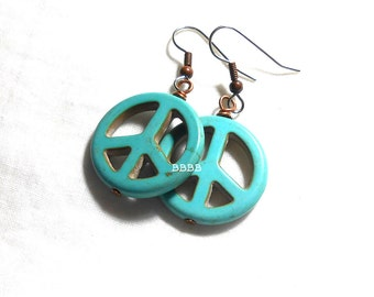 Light Blue Peace Earrings - Surgical Steel French Hooks with Antiqued Copper Earrings