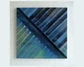 Original abstract painting, wood art, diagonal stripes, light and dark, OOAK painting