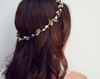 THE WENDY - White Sprout Leaf Woodland Wreath Halo Crown Flower Floral Girl  Bridal Wedding Hair Boho wedding headpiece holiday