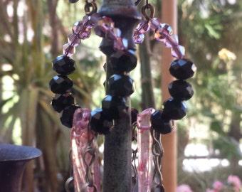 Rock n roll Gypsy ~ Boho Gypsy brut cristal Quartz Points Long pendants goutte Kuchi bijoux Boucles d'oreilles - unique en son genre - fait à la main