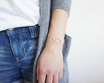 Sterling Silver Double Circle Bracelet, Sterling Silver Eternity Link Bracelet, Sterling Silver Layering Bracelet, Minimalist, Love Bracelet