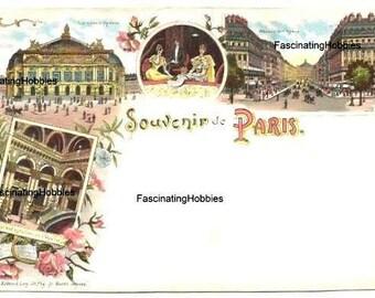 Vintage PARIS, France Postcard Souvenir - Grand OPERA - Various Views,gallery, inside, outside, colorful - end of XIX print-  good condition