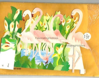 Vintage - FLAMINGOES - Paper Sculpture by Carol LEITH - years 1980 - MONKEYPUZZLE - Mint in its original package, with strong enveloppe-
