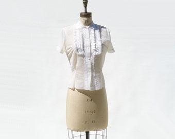 1950s Blouse, Vintage White Blouse, Sheer Nylon Blouse, 50s White Blouse, Short Sleeve Blouse, Ruffled Blouse, size large