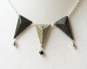 Silver Pennant & Dangly Faceted Tibetan Silver and Black Crystal Necklace, Geometric Jewelry