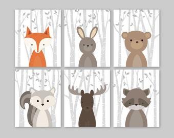 Baby Girl Nursery Decor - Woodland Nursery Decor, Woodland Nursery Art, Forest Animals, Forest Nursery, Girl Room Decor, Girl Bedroom Art