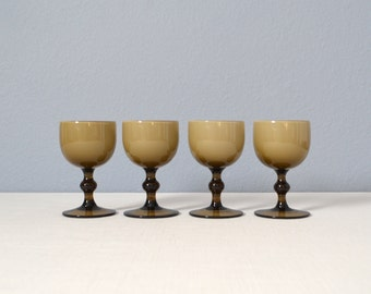 Set of 4 Vintage Carlo Moretti Cased Glass Small Goblets - Smoke and White