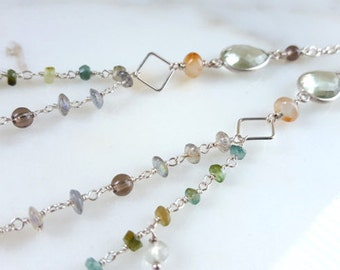 Long Gemstone Necklace Multi Strand Tourmaline Labradorite Green Amethyst Boho Layering Chain Dangle Necklace Fine Jewelry Life Bijou