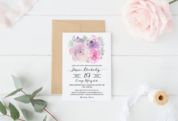 Bridal Shower Invitation Floral Watercolour Simple
