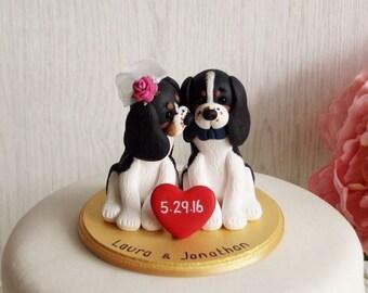 Dog Wedding Cake Topper - Dog Bride and Groom - Kissing Dog Wedding Cake Topper - Custom Dog Wedding Cake Topper - Cavalier Cake Topper