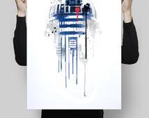 Watercolor r2d2 star wars robot alternative poster scifi nerd movie poster film retro wall art home decor geek poster