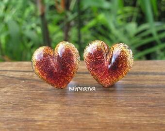 "Fire Red Dichroic Glass Heart Plugs 10g 8g 6g 4g 2g 0G 00g  7/16"" 1/2"" 9/16"" 5/8"" 3/4"" 7/8"" 1""  3 mm 4 mm - 25 mm"