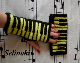 Knit Piano Light Green Fingerless Gloves Mittens Hand Wrist Warmers Music