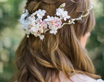 bridal hair piece, bridal hair vine, ivory floral crown, bridal headpiece flower, floral hair accessory, ivory headband, crystal headpiece