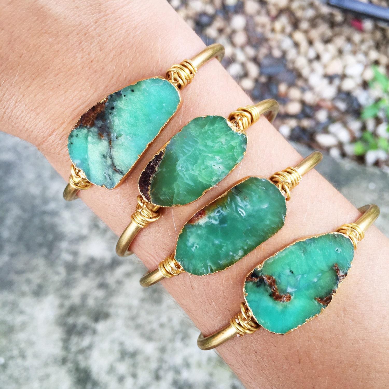 Genuine Natural Raw Australian Jade / Chrysoprase Cuff Bracelet | Adjustable Cuff | Raw Stone |