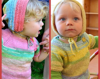 Hand knitted twins 2 tops 0-3 years 'made to order baby toddlers cotton pastels Spring Summer fall Waldorf baby