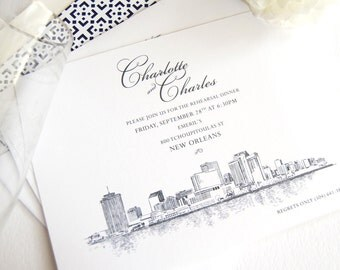 New Orleans Skyline Rehearsal Dinner Invitations (set of 25 cards)