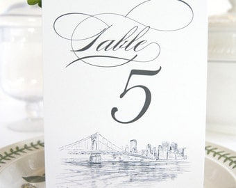 Pittsburgh Skyline Table Numbers (1-10)