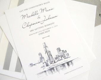 Chicago Skyline Save the Date Cards, Chicago Wedding Save the Dates (set of 25 cards)