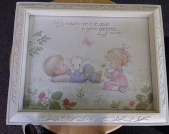 Vintage Children's framed Psalm Pictures, Set of Children's pictures, Kid's wall art, Baby room décor, New baby gift