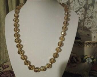 Vintage 1960's champayne crystal aurora borealis necklace