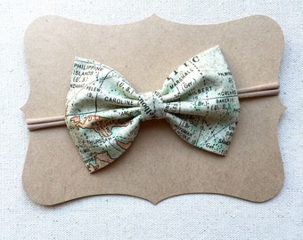 Wanderlust World Map Bow Headband