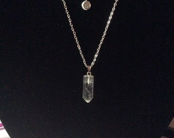 Clear crystal and silver layered necklace