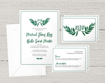 Leafy Green Wedding Invitation Suite - Main Invite - RSVP - Other card - envelopes - blessing and honour - invitation
