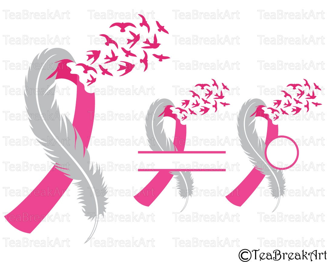 breast cancer awareness feather bird flying cutting files svg