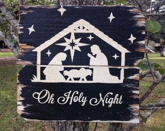 Oh Holy Night Christmas wood sign