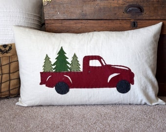 Vintage Red Truck Pillow Cover
