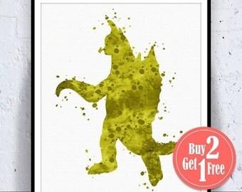 SALE: Gigan Godzilla Poster, Godzilla Print, Godzilla Art, Painting, Boys Decorations, Watercolor Poster, Watercolor Art print