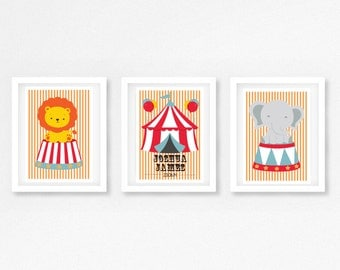 Circus Nursery Decor,  Circus Nursery Print, Nursery Wall Art, New Baby Gift, Baby Shower Gift, Baby Nursery Wall Art, Personalized Print