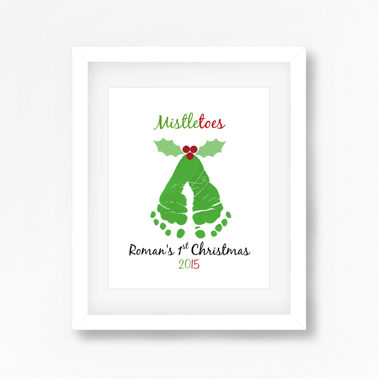 Babys 1st Christmas Gift Baby Footprint Art Babys 1st
