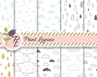 Clouds and Rain digital paper. Baby white wallpaper. Kid sky fabric. Instant Download.