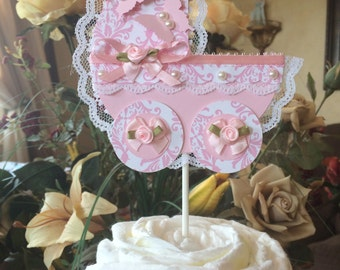 Baby shower cake topper/White and pink Damask baby shower cake topper/Baby carriage cake topper: