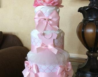 Ballerina diaper cake/Pink Ballerina diaper cake/Baby Girl diaper cake/Ballerina Baby shower centerpiece/Elegant diaper cake