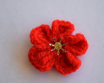 Red Crochet Poppy Brooch