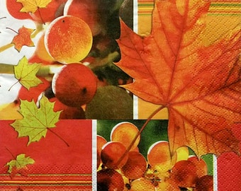 Set of 2 pcs 3-ply ''Grapes in autumn'' paper napkins for Decoupage or collectibles 33x33cm, Fruits napkins