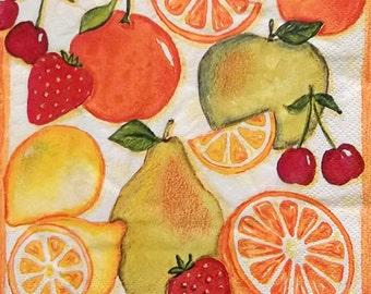 Set of 2 pcs 3-ply ''Citrus and fruits'' paper napkins for Decoupage or collectibles 33x33cm, Decopatch napkins, Servetten