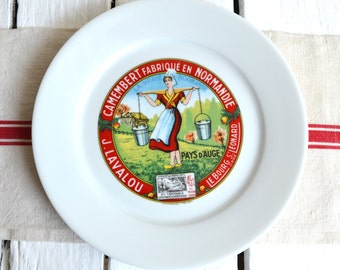 Vintage Advertising French Cheese Serving Limoge Ceramic Plate Fromage President Camembert