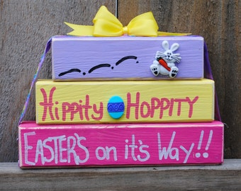 Easter, Easter Decor  Easter Bunny, Spring Wood Block Trio