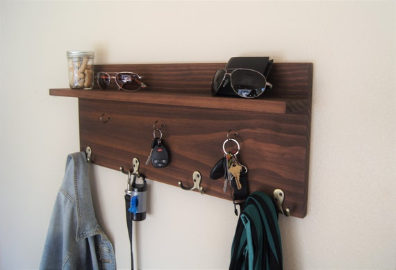 floating shelf with coat and key hooks by midnightwoodworks. Black Bedroom Furniture Sets. Home Design Ideas