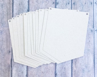 Set of 12 Blank Kraft Banner One -Point Pennants • Make Your Own Party Banner • DIY Bunting Flags • Cardstock Banner Flags • DIY Blank Kraft