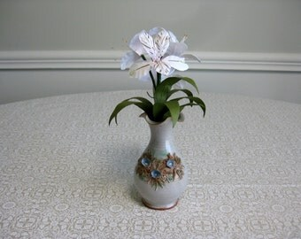Handmade Paper Alstroemeria in Vintage Bud Vase