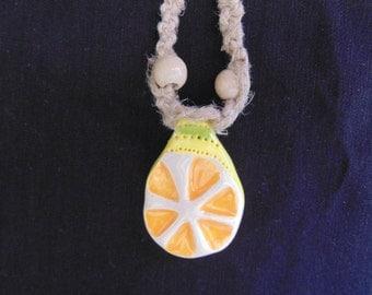 "8"" Handmade Necklace with Ceramic Pendant"